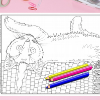 Caticorn Cat Colouring Page Printable PDF digital download