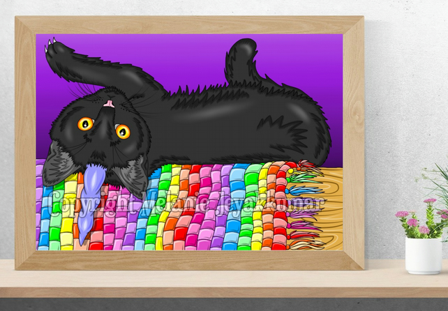 Caticorn Kittycorn Black Cat Art Printable Download JPG Kitty Poster Wall Art