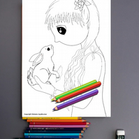 Crystal Fairy and Rabbit Colouring Page Printable PDF Digital download