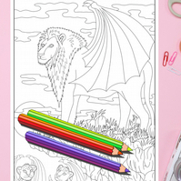 Lion and cubs with wings Big Cat Colouring Page Printable PDF Digital download