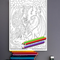 Lion and Tiger with wings Big Cat Colouring Page Printable PDF Digital download