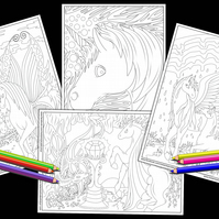 4 Unicorn and Pegasus Colouring Pages Printable PDF Digital download