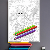 Rainbow Bridge Kitten with wings Colouring Page Printable PDF Digital download