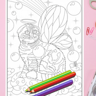 Scottish Fold Fairy Kitten with wings Colouring Page Printable PDF download