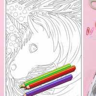 Unicorn Head Colouring Page Printable PDF digital download