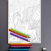 Rainbow Rain Pegasus Colouring Page Printable PDF digital download