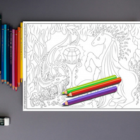 Dragon and Fire Pegasus Colouring Page Printable PDF digital download