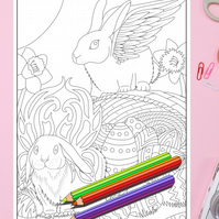 Easter Bunny Rabbits with wings Colouring Page Printable PDF digital download