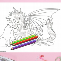 Dragon and Cats Colouring Page Printable PDF digital download