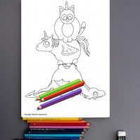 Cat Dragon and Unicorn Colouring Page Printable PDF digital download