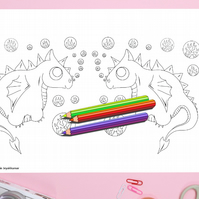 Cute Bubble Dragons Colouring Page Printable PDF digital download