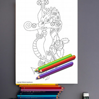 Dragon Dagger Rose Colouring Page Printable PDF digital download
