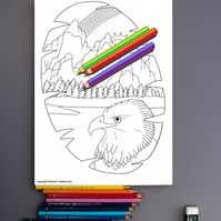 Bald Eagle Native American Scene Colouring Page Printable PDF digital download