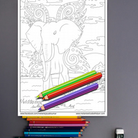 Elephant with wings Colouring Page Printable PDF digital download