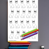 Cute Cats Kitties Colouring Page Printable PDF digital download