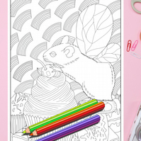 Fairy Mouse with Wings Colouring Page Printable PDF digital download