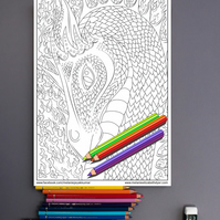 Fire Dragon Colouring Page Printable PDF Digital download