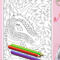 Earth Dragon Colouring Page Printable PDF Digital download