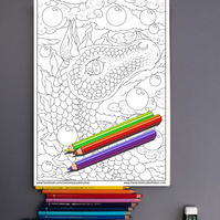 Air Dragon Colouring Page Printable PDF Digital download