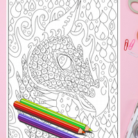 Water Dragon Colouring Page Printable PDF Digital download