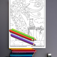 Mer-cats and Sea Dragon Colouring Page Printable PDF Digital download