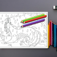 Sea Unicorn Colouring Page Printable PDF Digital download