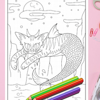Mer-cat Kitty Mermaid Colouring Page Printable PDF Digital download