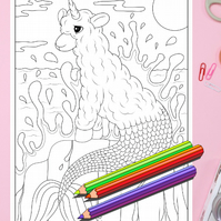 Llama Mermaid Colouring Page Printable PDF Digital download
