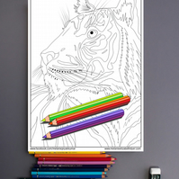 Tiger Big Cat Colouring Page Printable PDF Digital download