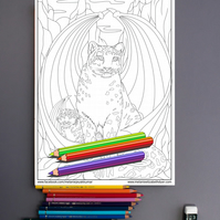 Snow Leopards with wings Big Cat Colouring Page Printable PDF Digital download