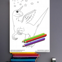 Raptor Dinosaur Colouring Page Printable PDF digital download