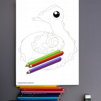 Snake Rattlesnake Colouring Page Printable PDF digital download