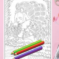 Panda with Butterfly Wings Colouring Page Printable PDF digital download