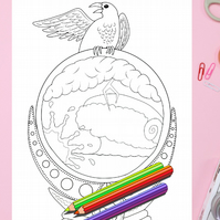 Raven Crystal Ball Colouring Page Printable PDF digital download