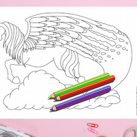Rainbow Pegasus Colouring Page Printable PDF digital download
