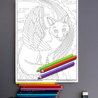 Fox with Wings Colouring Page Printable PDF digital download