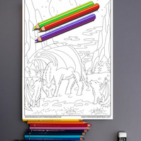 Wolf and Cubs with Wings Colouring Page Printable PDF digital download