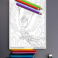 Phoenix Fire Bird Colouring Page Printable PDF digital download