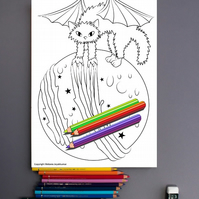 Evil Magic Moon Cat Colouring Page Printable PDF digital download