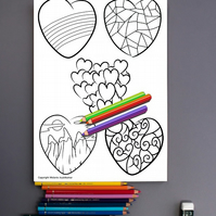 Patterned Hearts Colouring Page Printable PDF digital download