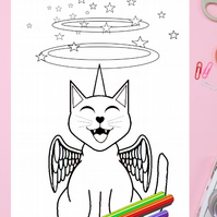 Happy Kitty-corn Cat Colouring Page Printable PDF digital download