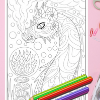 Fire Monster Dragon Colouring Page Printable PDF digital download