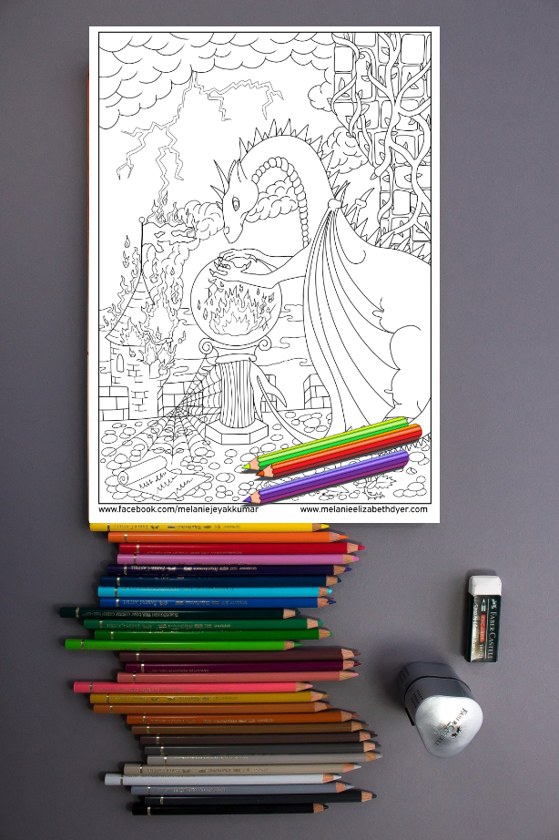 Dragon and Castle Colouring Page Printable PDF digital download