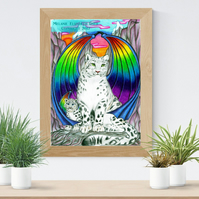 Snow Leopards with Wings Art Printable Download JPEG Fantasy wall art Cat Poster