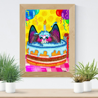 Birthday Cake Cat Kitty Art Printable Download JPEG Fantasy wall art Cat Poster