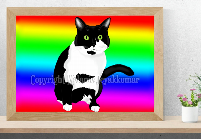 Rainbow Black and White Cat Kitty Art Printable Download JPEG Wall Art Print