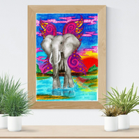 Elephant with Wings Art Printable Download JPEG Fantasy wall art Safari Poster