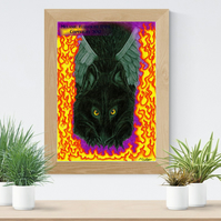 Black Wolf Dog Art Printable Download JPEG Fantasy wall art Wolf Poster