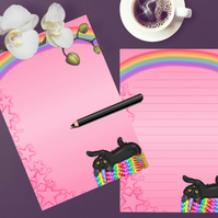 Printable Rainbow Cat Writing Paper, Stationery To do List Journal Page Download