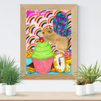 Cupcake Fairy Mouse Art Printable Download JPEG Fantasy wall art Rat Poster